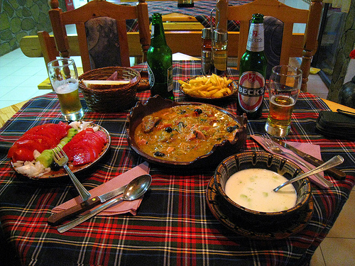 Traditional Bulgarian food table